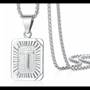 """White Gold Filled Letter T Pendant 20"""" Necklace"""
